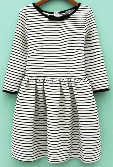 Black White Striped Bow Flare Dress
