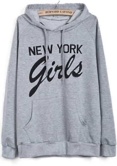 Grey Hooded Long Sleeve New York Girls Print Sweatshirt