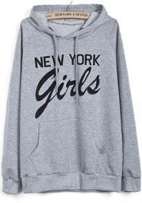 Grey Hooded Long Sleeve New York Girls Print Sweatshirt