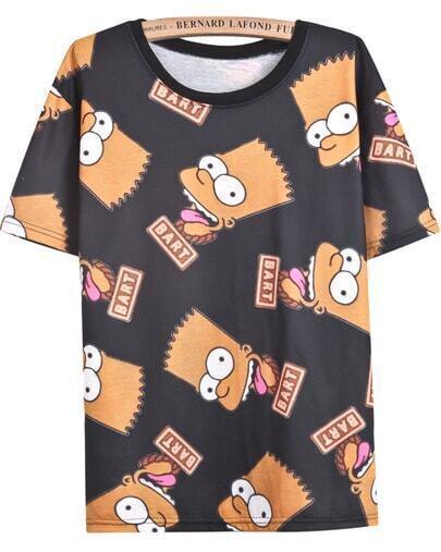 Black Short Sleeve Simpson Print T-Shirt
