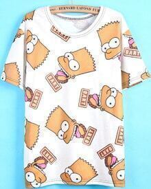 White Short Sleeve Simpson Print T-Shirt