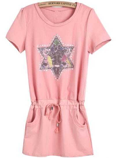 Pink Short Sleeve Star Print Drawstring Dress