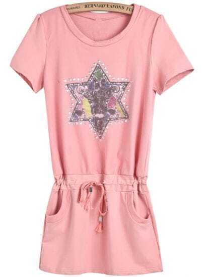 Pink Short Sleeve Star Print Drawstring Dress
