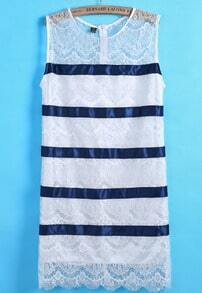 Blue Round Neck Sleeveless Striped Lace Dress