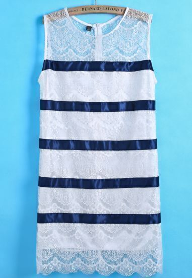 Blue Round Neck Sleeveless Striped Lace Dress