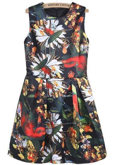 Black Sleeveless Floral Bird Print Dress