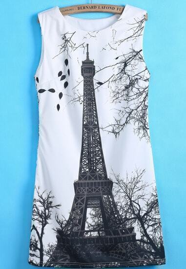 White Sleeveless Eiffel Tower Print Dress