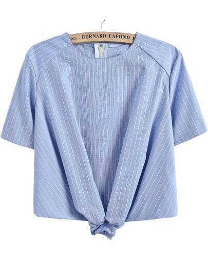 Blue Short Sleeve Striped Crop Blouse