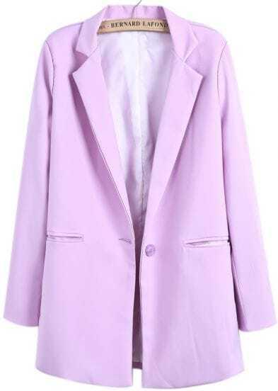 Purple Notch Lapel Loose Long Blazer