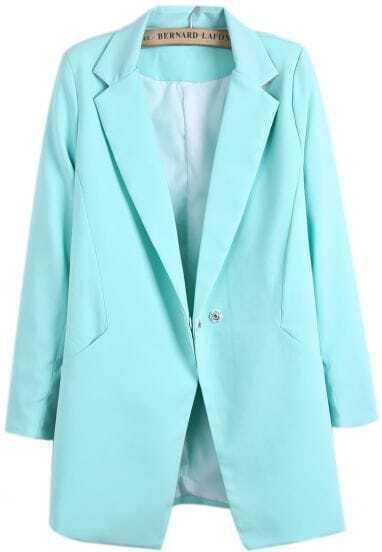 Green Notch Lapel Long Sleeve Buttons Blazer