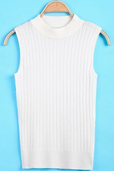 White High Neck Sleeveless Striped Sweater