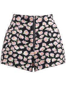 Black High Waist Zipper Floral Shorts