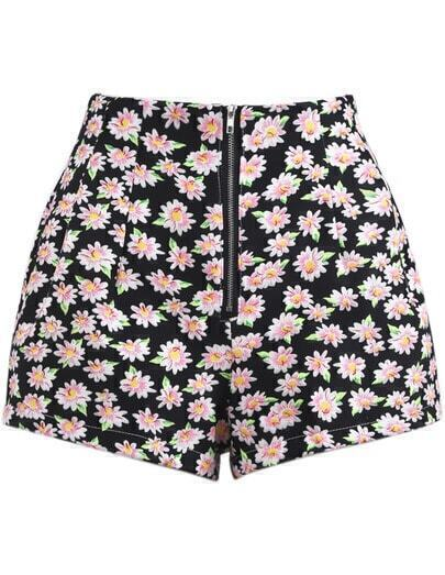 Black High Waist Zipper Floral Shorts