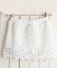 Beige Floral Crochet Lace Skirt