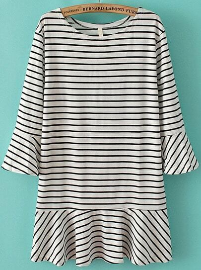 White Long Sleeve Striped Ruffle Dress