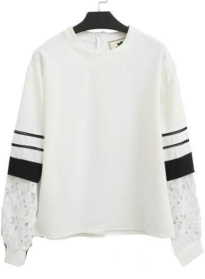 White Contrast Lace Long Sleeve Loose Sweatshirt
