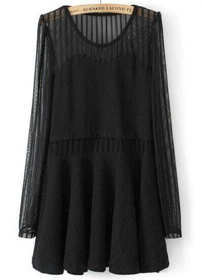 Black Contrast Chiffon Long Sleeve Pleated Dress