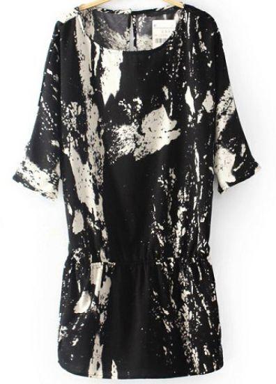 Black Batwing Sleeve Ink Printing Dress