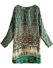 Leopard Round Neck Long Sleeve Loose Dress