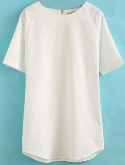 White Short Sleeve Loose Straight Dress