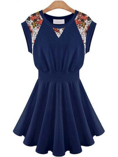 Navy Contrast Lace Floral Ruffle Dress