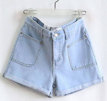 Blue High Waist Pocket Pant