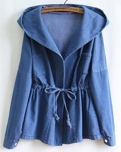 Blue Long Sleeve Hooded Belt Denim Coat