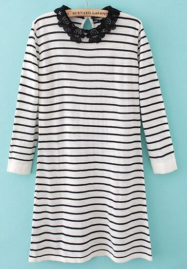 White and Black Strips Contrast Crochet Collar Dress