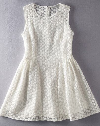 White Sleeveless Embroidered Organza Flare Dress