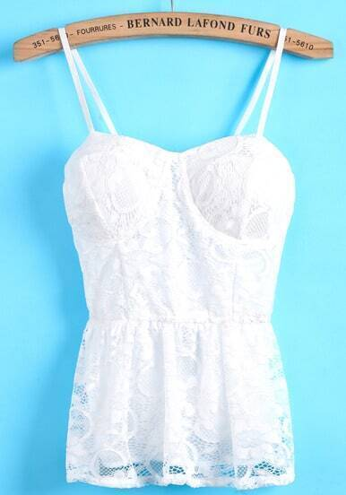 White Spaghetti Strap Lace Pleated Cami Top