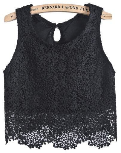 Black Sleeveless Lace Dipped Hem Vest