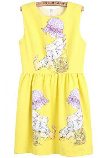 Yellow Sleeveless Animated Portrait Print Dress