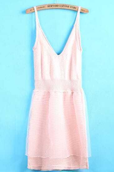 Pink Spaghetti Strap V Neck Organza Dress