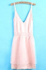 Pink Spaghetti Strap V Neck Organza Dress