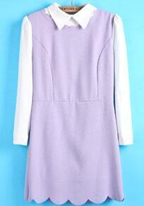 Purple Contrast Long Sleeve Slim Ruffle Dress