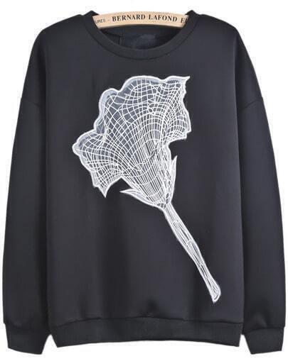 Black Long Sleeve Embroidered Loose Sweatshirt