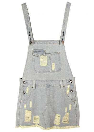 Blue Ripped Pockets Denim Pinafore Dress
