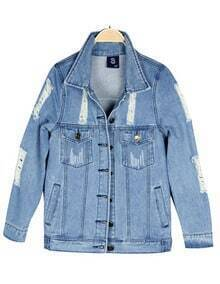 Blue Lapel Marilyn Monroe Print Ripped Denim Coat