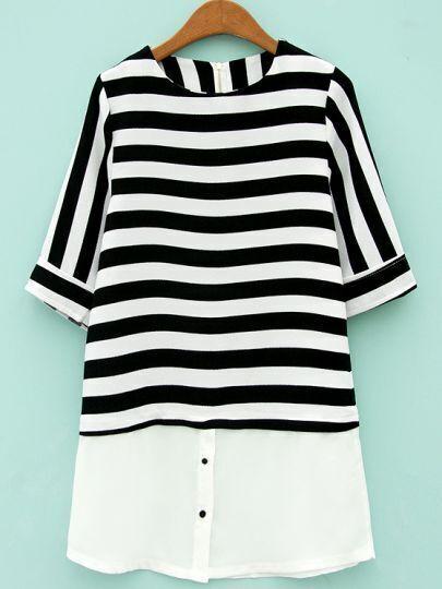 Black White Striped Half Sleeve Chiffon Blouse