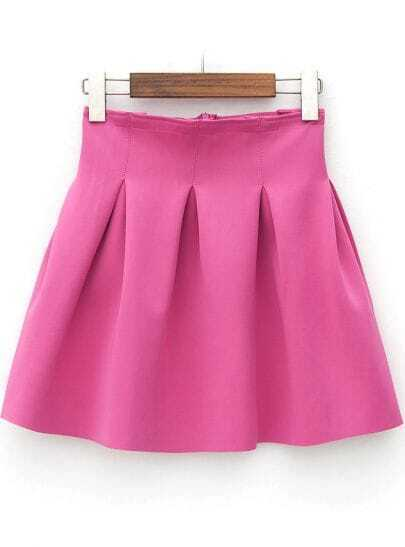 Rose Red High Waist Slim Pleated Skirt