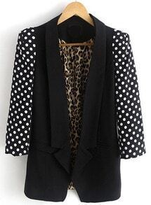 Black Contrast Polka Dot Long Sleeve Blazer