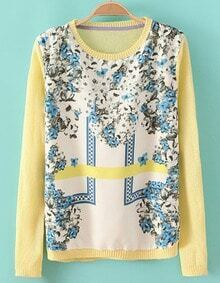 Yellow Long Sleeve Contrast Chiffon Floral Knit Sweater