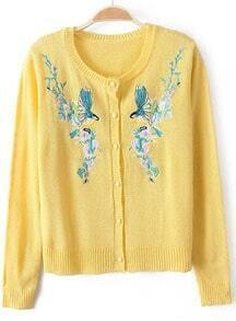 Yellow Long Sleeve Embroidered Knit Cardigan
