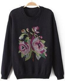 Black Long Sleeve Embroidered Knit Sweater