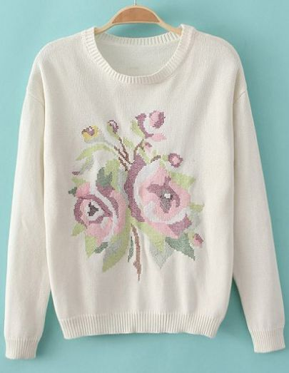 Beige Long Sleeve Embroidered Knit Sweater