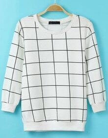 White Long Sleeve Plaid Knit Loose T-Shirt