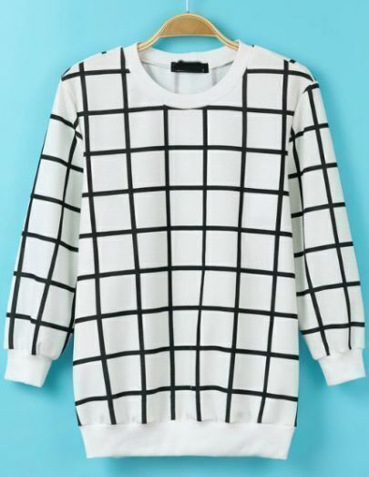 White Black Long Sleeve Plaid Knit Loose T-Shirt