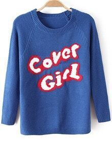 Blue Long Sleeve Cover Girl Print Sweater