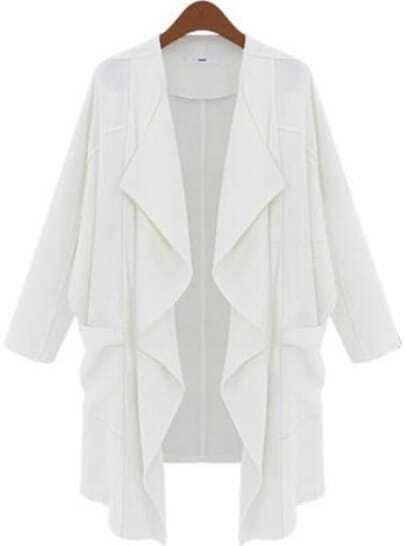 White Long Sleeve Pockets Loose Trench Coat
