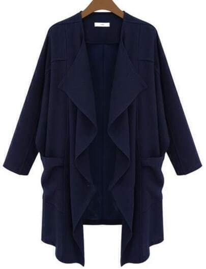 Navy Long Sleeve Pockets Loose Trench Coat